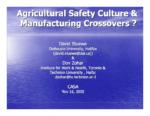 Peut-il y avoir transfert des pratiques de sécurité entre les secteurs industriels et agricoles?