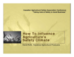 How to Influence Agriculture's Safety Climate