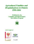 Accidents mortels et hospitalisations agricoles en Ontario 1990-2004