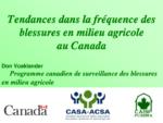 Tendances dans la fréquence des blessures en milieu agricole au Canada