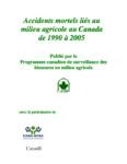 Accidents mortels liés au milieu agricole au Canada de 1990 à 2005