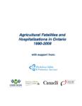 Accidents mortels et hospitalisations liés au milieu agricole en Ontario, 1990-2008