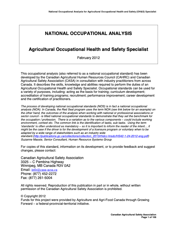 National Occupational Analysis- Agricultural Occupational