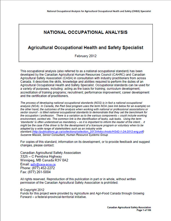 National Occupational Analysis- Agricultural Occupational Health and Safety Specialist