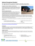 National Occupational Standard for Agricultural Occupational Health and Safety Specialists