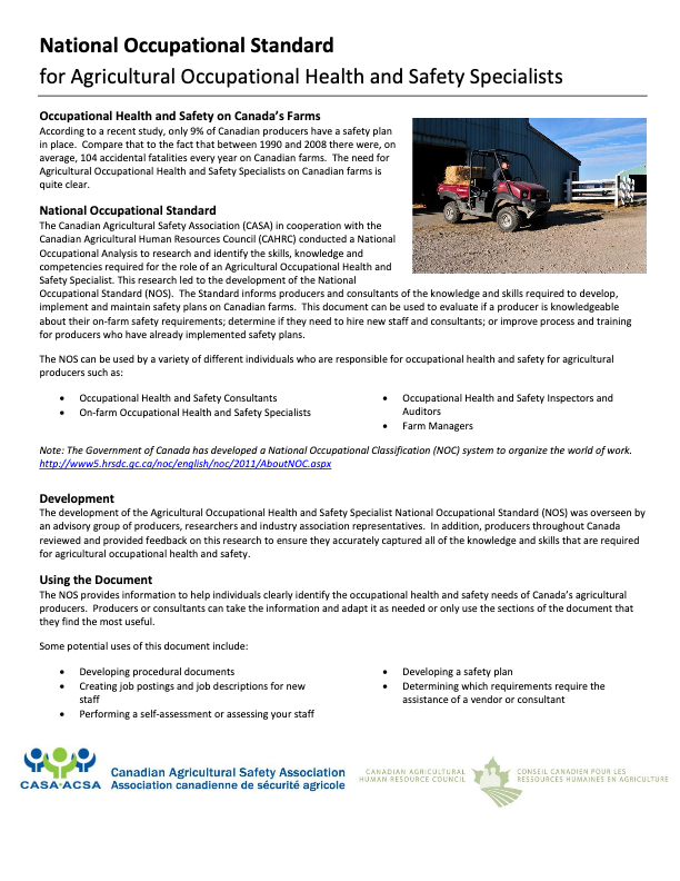 National Occupational Standard for Agricultural Occupational Health