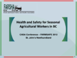 Health and Safety for Seasonal Agricultural Workers in BC