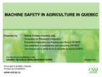 Machine Safety in Agriculture in Quebec