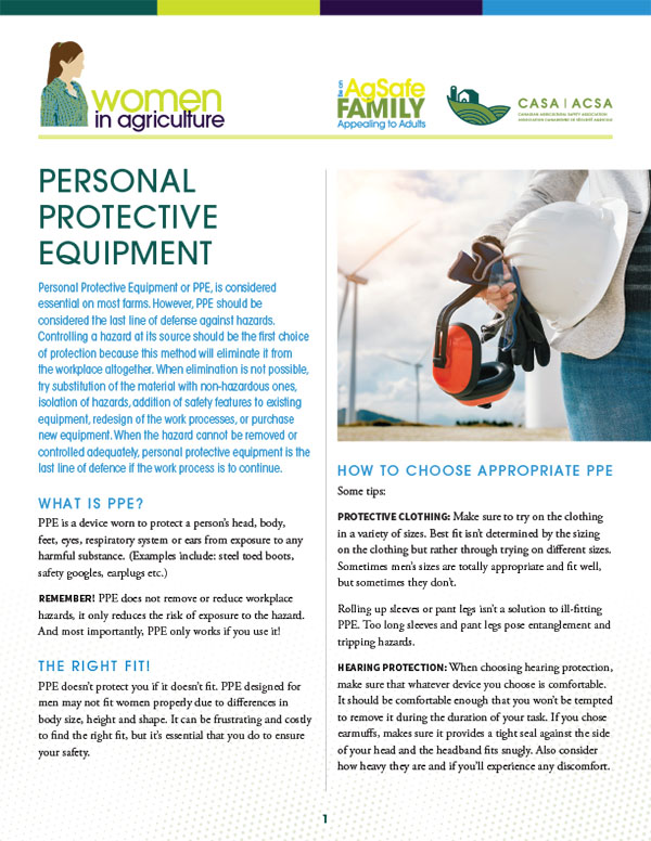 Women in Agriculture - Personal Protective Equipment