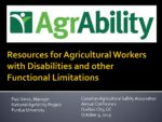 Resources for Agricultural Workers with Disabilities and Other Functional Limitations