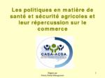 Les politiques de santé et sécurité agricoles et leurs implications sur le commerce