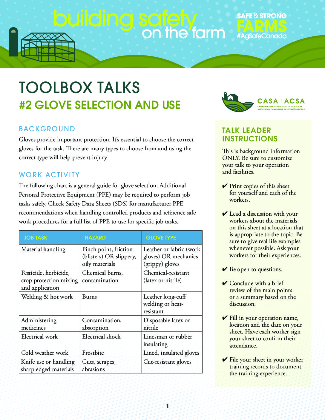 Glove Selection and Use - Canadian Agricultural Safety ...