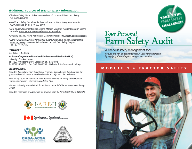 Your Personal Farm Safety Audit Module 1 Tractor Safety Canadian Agricultural Safety Association